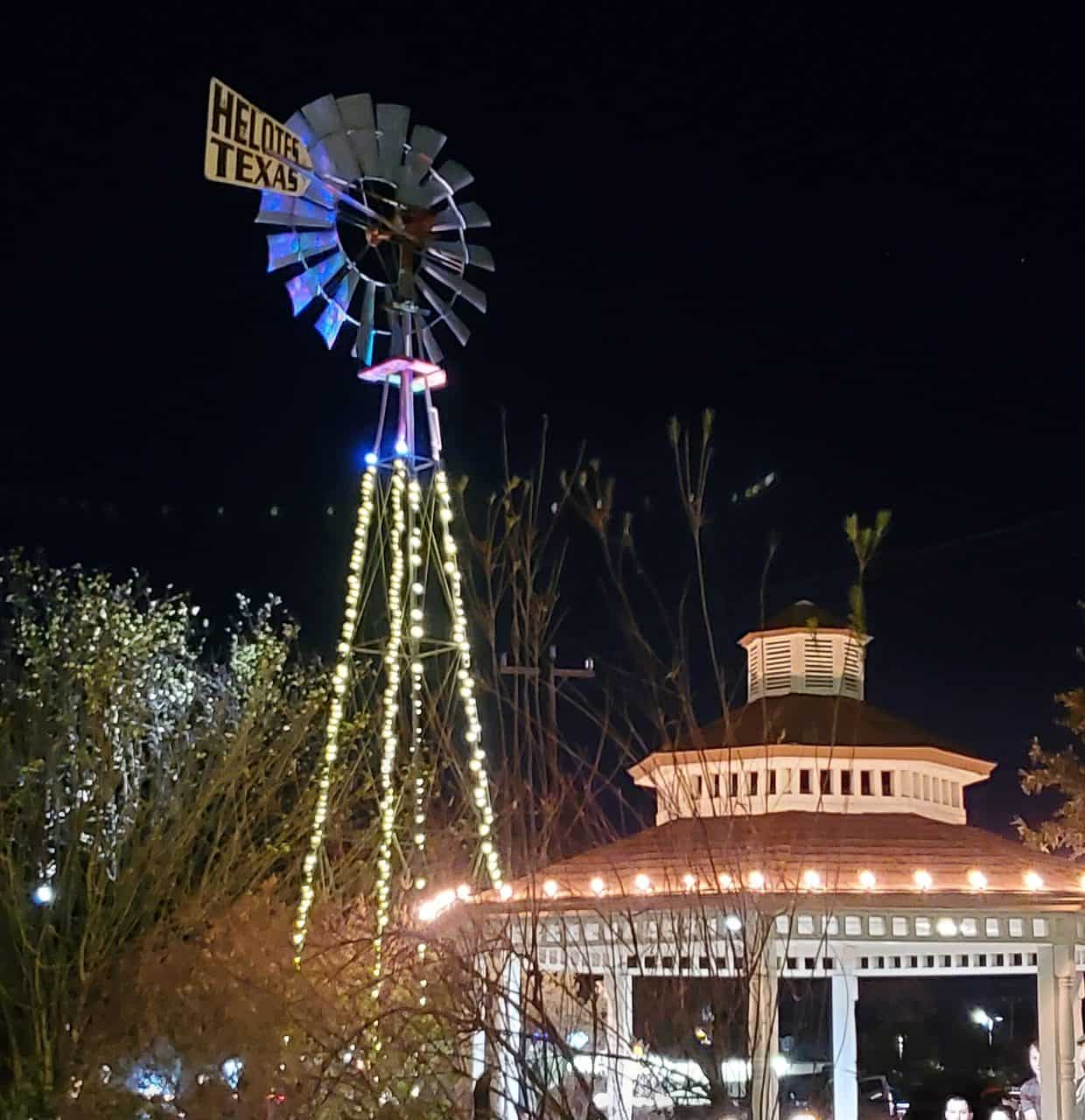 helotes windmill lit up at night as things to do
