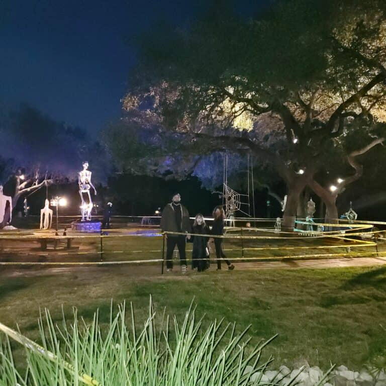 Haunted Old Town Helotes Gardens at night