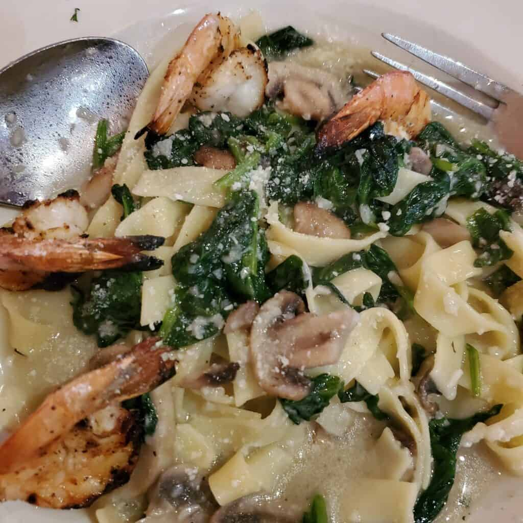 Casa Pasta special grilled shrimp with wine sauce