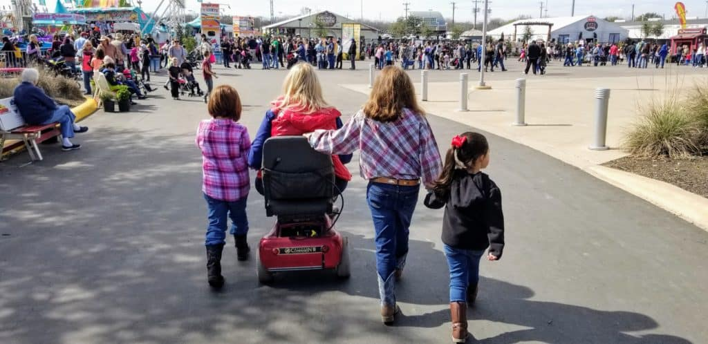 grandma and kids touring at the San Antonio Stock Show and Rodeo