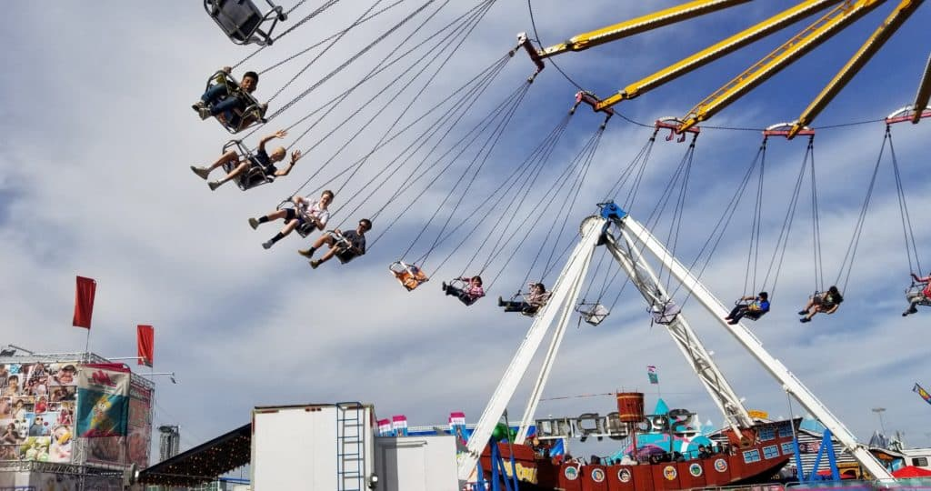 large swing ride at the San Antonio Stock Show and Rodeo carnival grounds